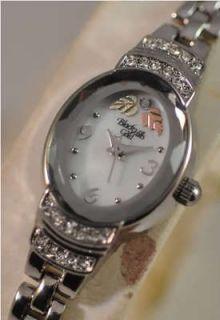 Ladies Black Hills Gold Silvertone Crystal 12K Pink Gold Flowers Watch