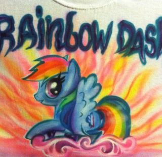 LITTLE PONY HORSE New Design UNICORN Rainbow Dash T SHIRT AIRBRUSHED
