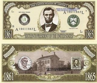 16th President Abraham Lincoln Million Dollar Bills x 4 United States