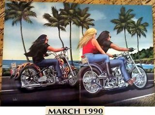 David Mann Centerfold Poster Easy Rider March 1990 Biker Art