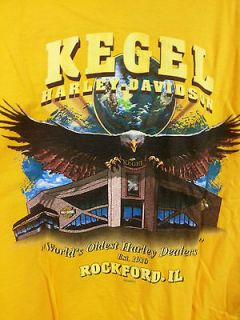 Kegel Harley Davidson Motor Cycles Mens Yellow Tee Shirt Size XXL
