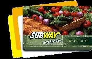 Subway Gift Card $100 Balance