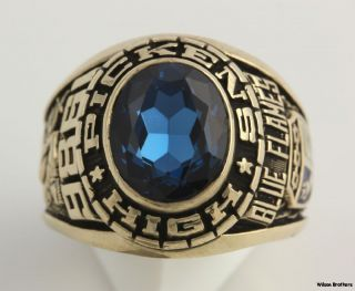 1986 Pickens High School Mens Class Ring   10k Solid Yellow Gold Syn