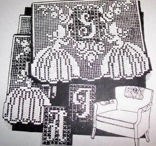 6091 Vntg Alice Brooks Filet INITIAL Chair Set Pattern
