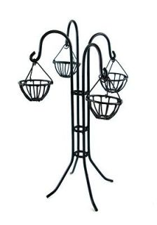 Dolls House Miniature Garden Accessory Black Wire Hanging Basket Plant