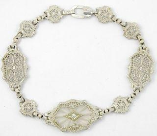 Antique Art Deco 10K Solid Gold Filigree Diamond Bracelet