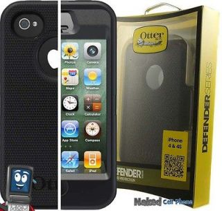 NEW OTTERBOX DEFENDER BLACK CASE + BELT CLIP HOLSTER FOR APPLE iPHONE