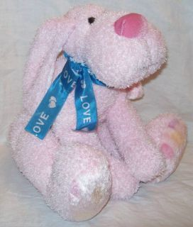 Wal Mart Stores Plush Pink Valentine Dog with Blue Love Ribbon