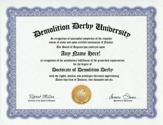 DEMOLITION DERBY DIPLOMA CRASH CAR DERBIES FUN GAG GIFT