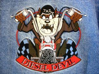 DEViL Tasmanian Motorcycle Biker Denim Jean Jacket w/ Leather Sz XS S