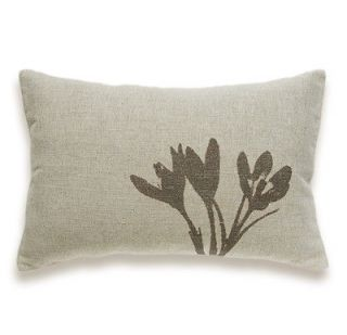 Crocus Print Decorative Lumbar Pillow Cover 12x18 natural bege linen