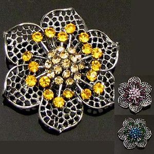 1p Austrian rhinestone crystal flower brooch pin bridal