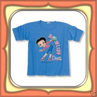 Shirt Betty Boop Bowling Diva Ladies Small   Blue