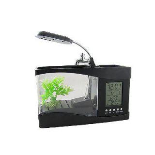 Office Desk Decor White LED Mini Fish Tank Aquarium