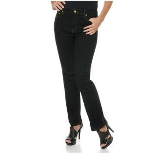 Diane Gilman DG2 Denim Boot Cut Jeans Solid BLACK with Gold Rivets