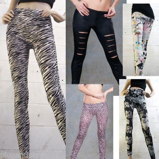 Regular Animal Print Faux Denim Jean Leggings Goth Punk Stretchy XL US