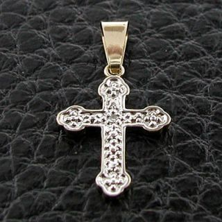 Circa 1980s 10k Yellow & White Two Tone Gold  Diamond Cross Pendant