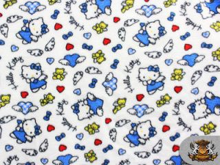 Fleece Printed HELLO KITTY BLUE ANGELS Fabric 58 Wide sold by the