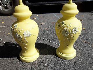 Ginger Jar Hollywood Regency able Lamps Whie Floral Design Emb