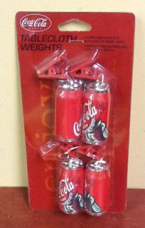 NIP Coca Cola Soda Can Table Cloth Weights