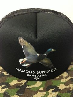 DIAMOND SUPPLY CO GAME ASSOCIATION CAMO TRUCKER SNAPBACK DIAMOND BLACK