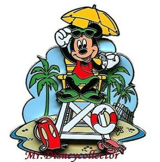 Disney Pin Mickey Mouse dressed as a Beach Lifeguard in Chair ~ 3D