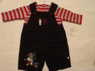 DISNEY Baby Boys Black Mickey Corduroy Christmas Overall Shirt Outfit