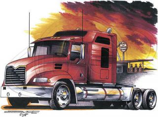 Truck Driver T Shirt Red Truck At Truck Stop Tee Big Rig Shirt Semi