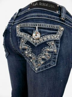 LA Idol Jeans Crystal Tribal Tattoo Whip Stitching Pockets Bootct