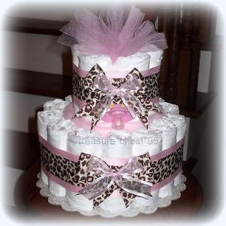 Pink Brown GIRAFFE Diaper Cake Baby Shower Centerpiece Girl Animal