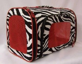 Luggage Style Zebra dog pet carrier with red windows Airline Approved