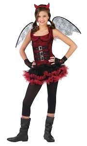 Girls Night Wing Devil Tutu Halloween Costume Fancy Dress Up Party