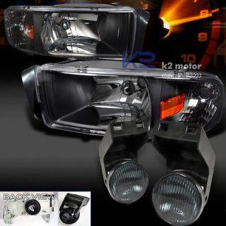 DODGE RAM BLK HEADLIGHTS+SIG NAL+FOG BUMPER SMOKE (Fits Dodge Ram