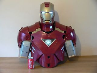 Life size Iron man 2 Mk VI Avengers fibreglass bust with removable