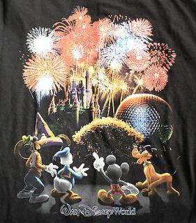 World Mickey Mouse Pluto Donald Duck Goofy Epcot Center T Shirt M