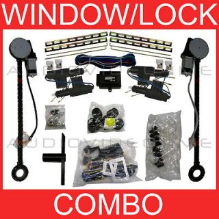 Electric 2 Power Window Motor Conversion+4 Door Lock Actuator Kit 12v