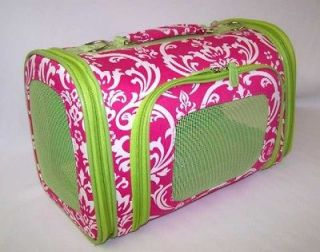 Pink Damask Green Trim 15 inches Dog Pet Carrier Travel Crate NEW