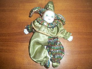 Baby Jester Doll Porcelain Mardi Gra Collectible Decor Sequined Figure