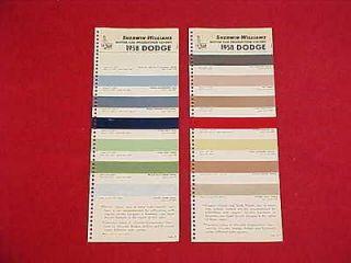 1958 ORIGINAL DODGE CORONET ROYAL LANCER CAR COLOR PAINT CHIPS CHART