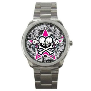 ADORABLE!! TOKI DOKI CAMO SKULLS WALLPAPER SPORT METAL WATCH*420
