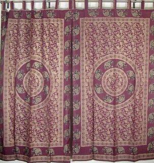 Fashion Curtains Cotton Fabric Gold Print Ethnic Window Door Panel