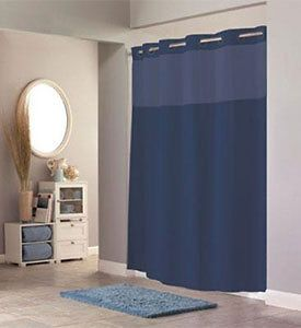 Hookless Fabric Shower Curtain   Navy