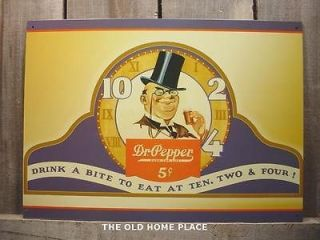METAL DR PEPPER TOP HAT MAN DRINK A BITE TIN SIGN SIGNS