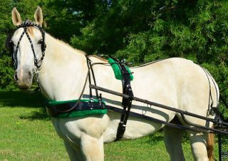 BLACK BIOTHANE with Silver Spots & GREEN PAD Driving Horse Harness