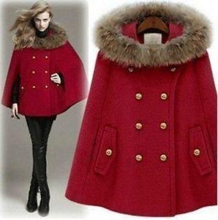 Princess Womens Faux Fur Hooded Poncho Winter Coat Jacket Ladies Cape