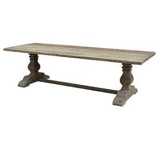 Bleached Pine Reclaimed Wood Trestle Dining Table 110