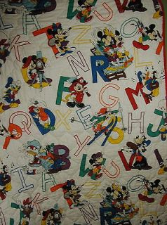 Vtg Mickey Mouse DUNDEE Quilt Comforter Blanket Alphabet Minnie