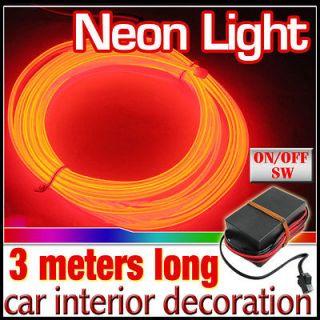 EL Wire Rope 12V DC Bulb Car Party Strip Driver Flexible Neon Light