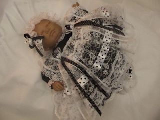 DREAM NEWBORN BABY GIRLS BLACK LACE DRESS MOP HAT 17 19 REBORN DOLLS