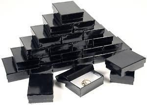 25 Gloss Black Cotton Filled Gift Boxes 3 1/4 X 2 1/4 Jewelry